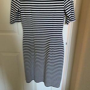 Ann Taylor white and black striped dress